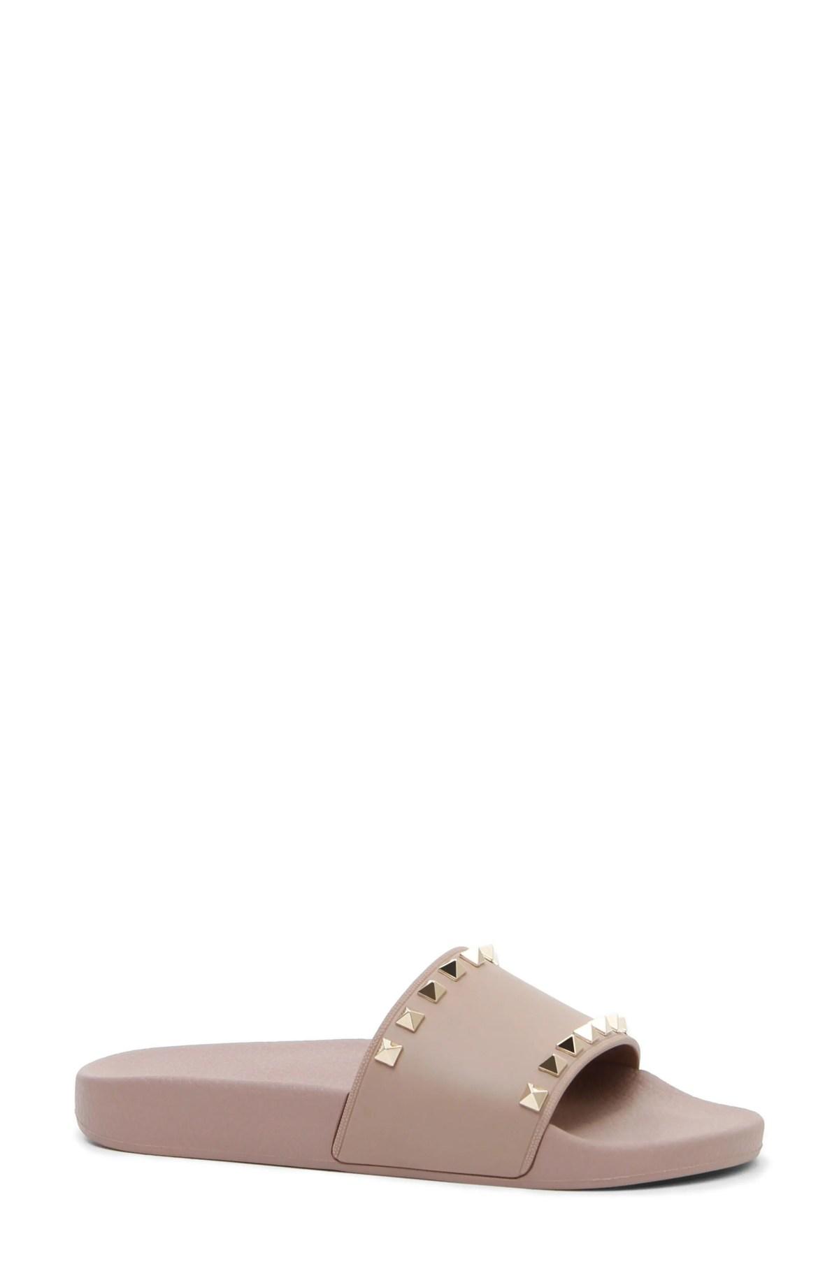 VALENTINO GARAVANI Rockstud Slide Sandal, Main, color, POUDRE