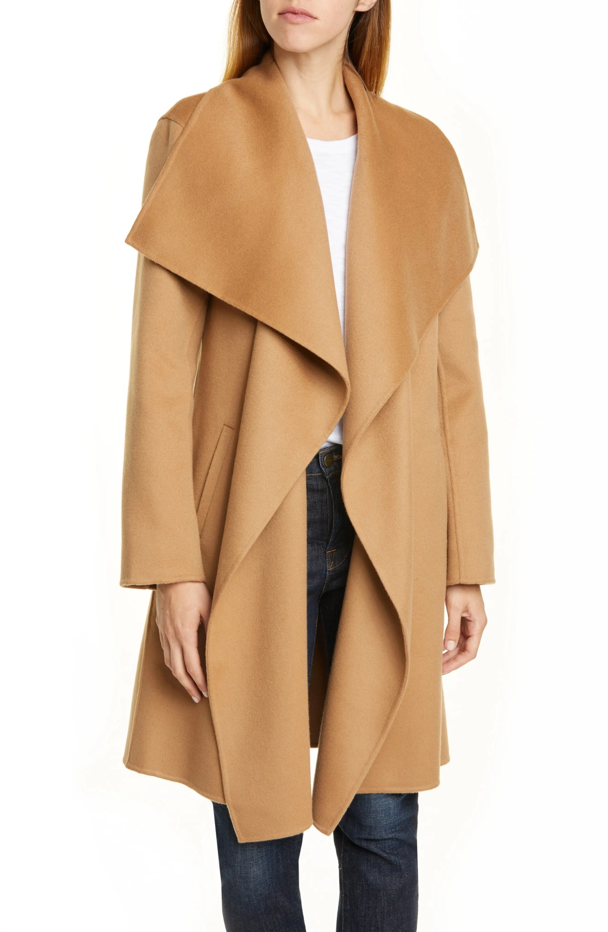 NORDSTROM SIGNATURE Cascade Collar Double Face Wool & Cashmere Coat, Main, color, TAN CAMEL