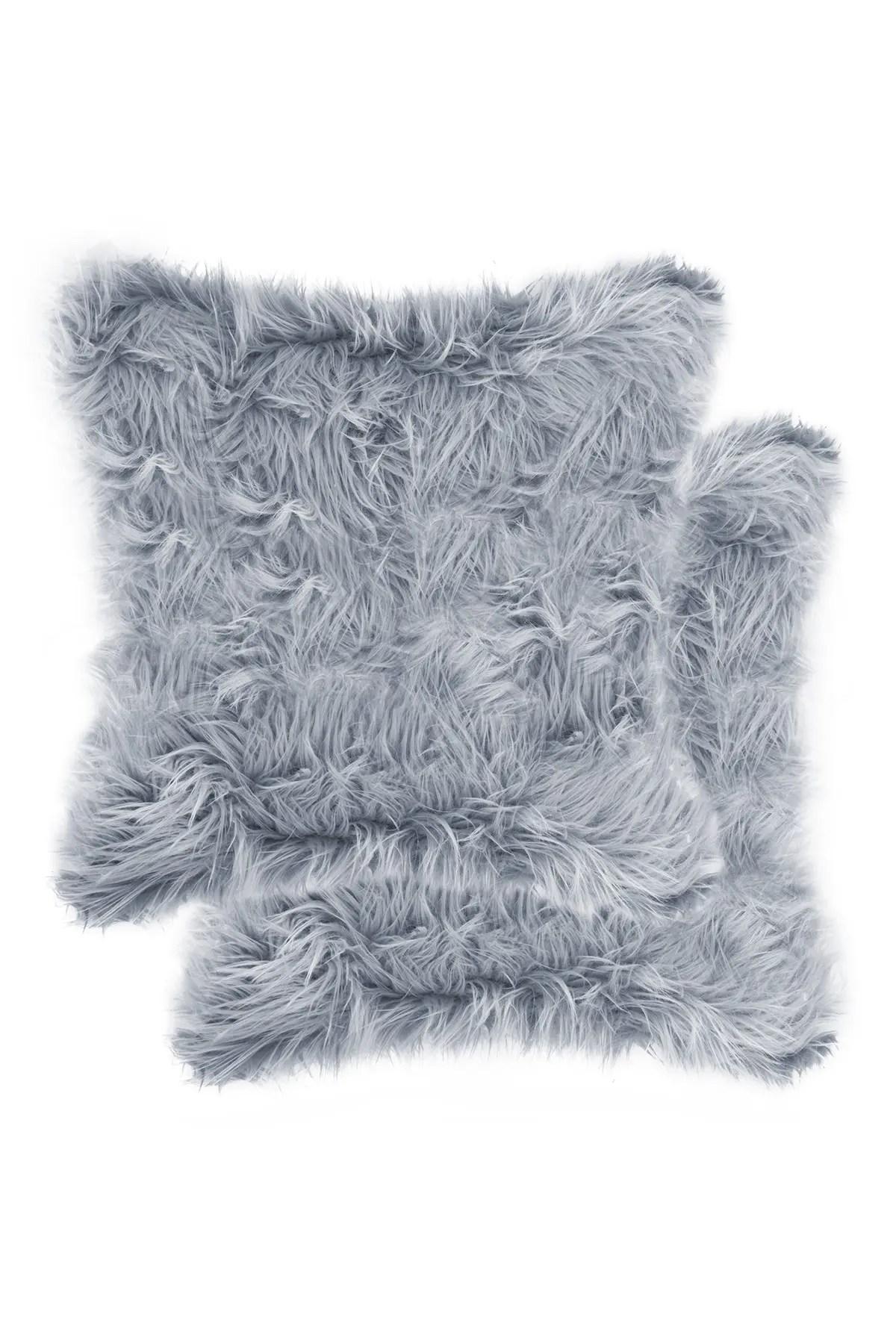 luxe belton faux fur pillow set of 2 18 x 18 grey nordstrom rack