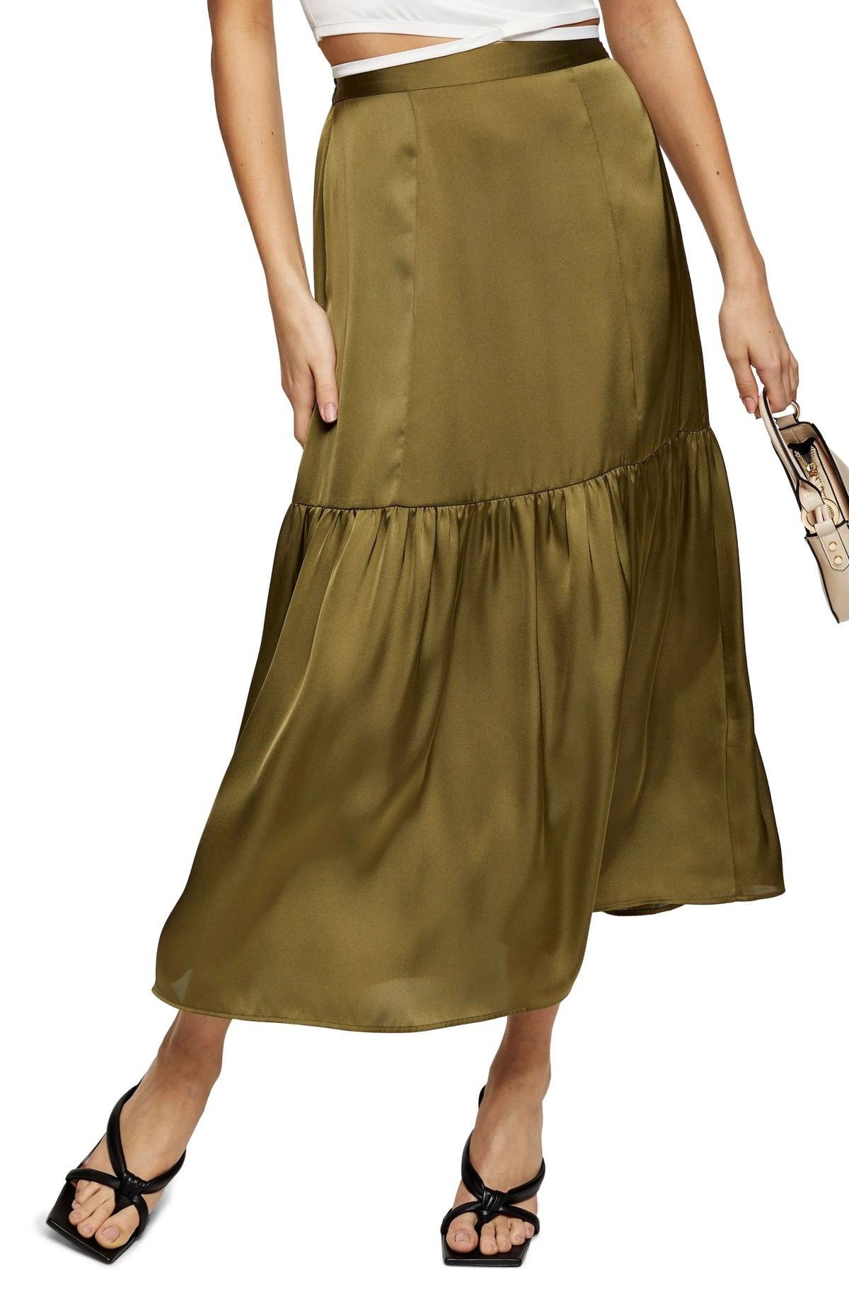 TOPSHOP Satin Tiered Midi Skirt, Main, color, OLIVE