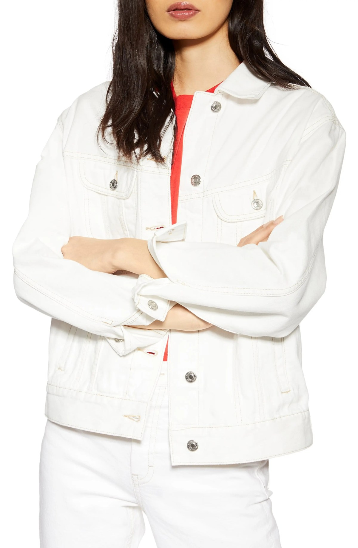 Oversize Denim Jacket, Main, color, WHITE
