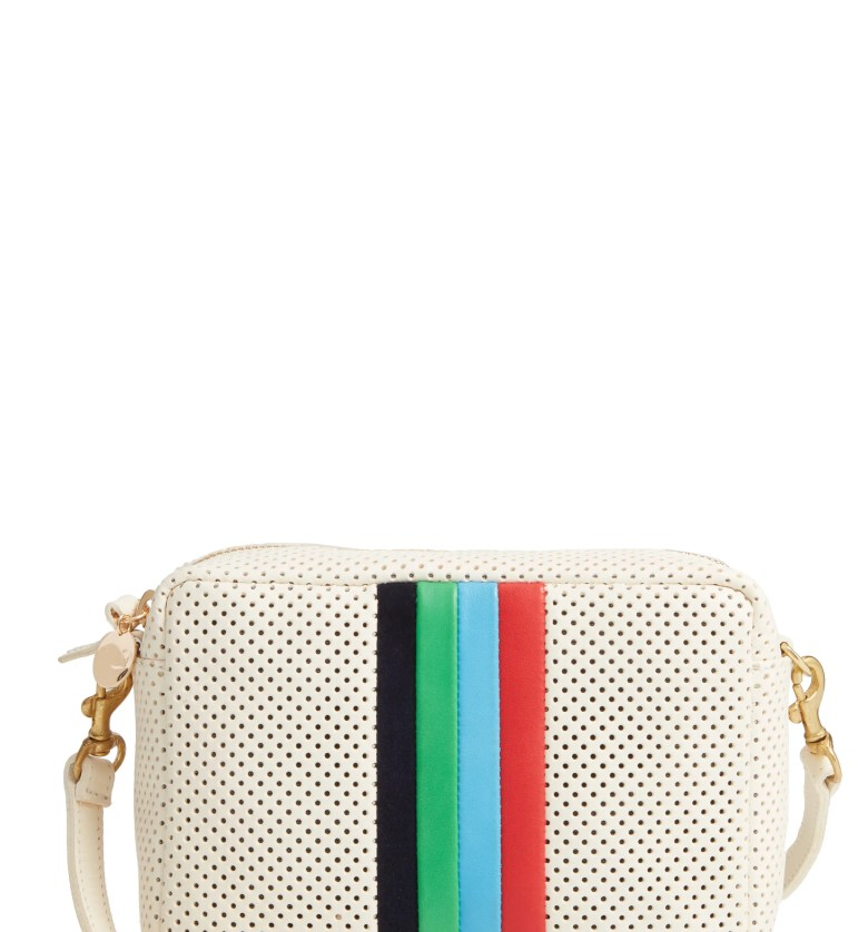 CLARE V. Midi Sac Perforated Leather Crossbody Bag, Main, color, CREAM PERFORATED/ STRIPES