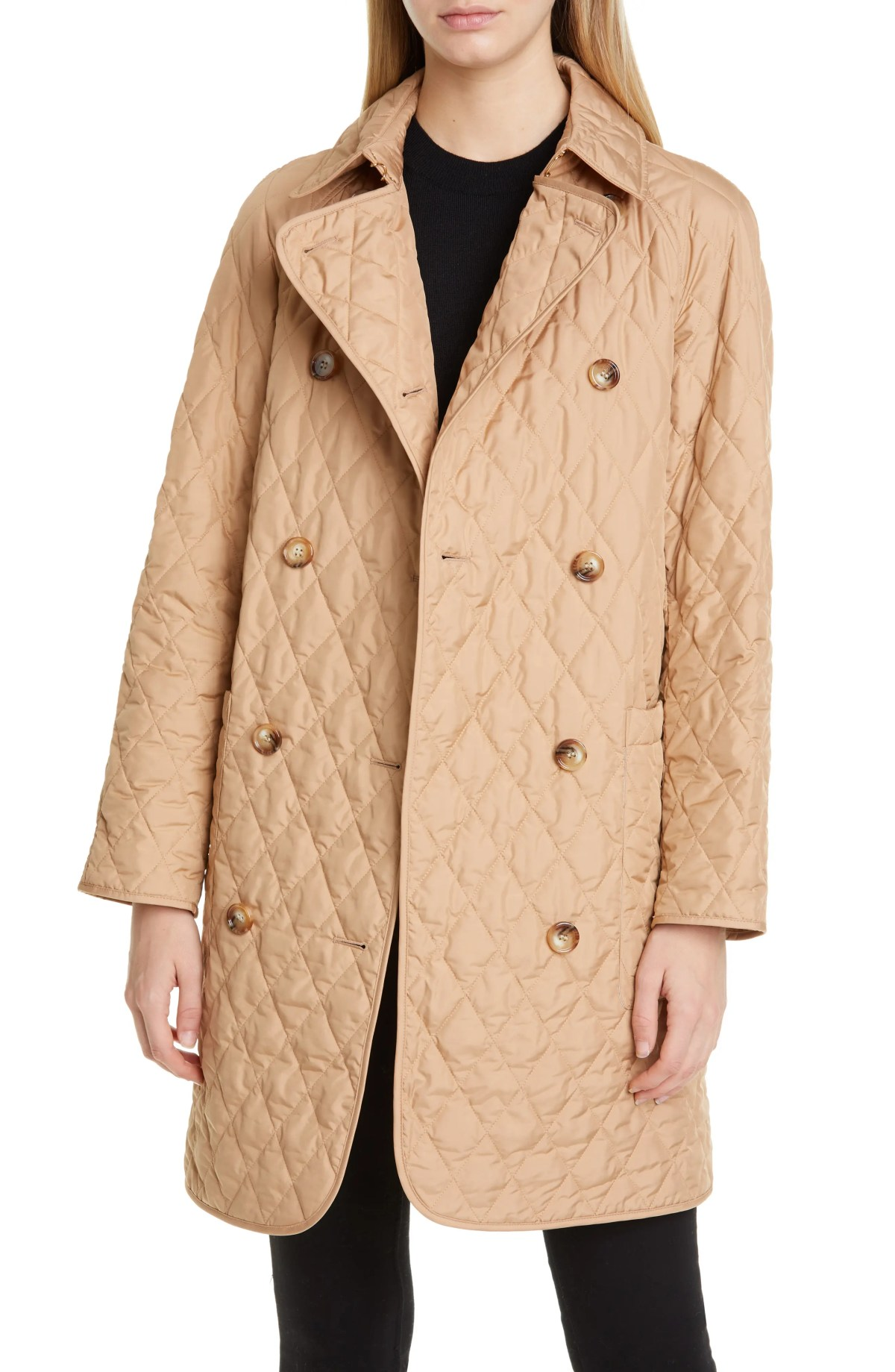 BURBERRY Tything Quilted Double Breasted Coat, Main, color, BISCUIT