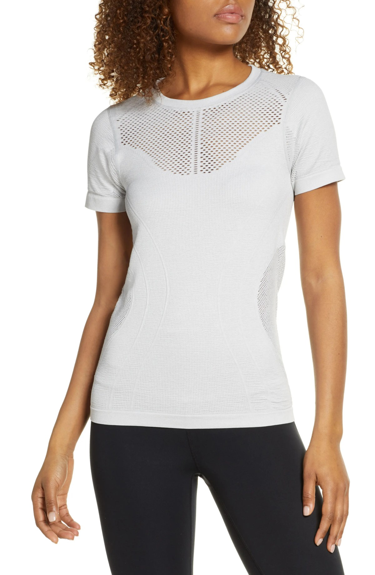 ZELLA Seamless T-Shirt, Main, color, GREY HEATHER