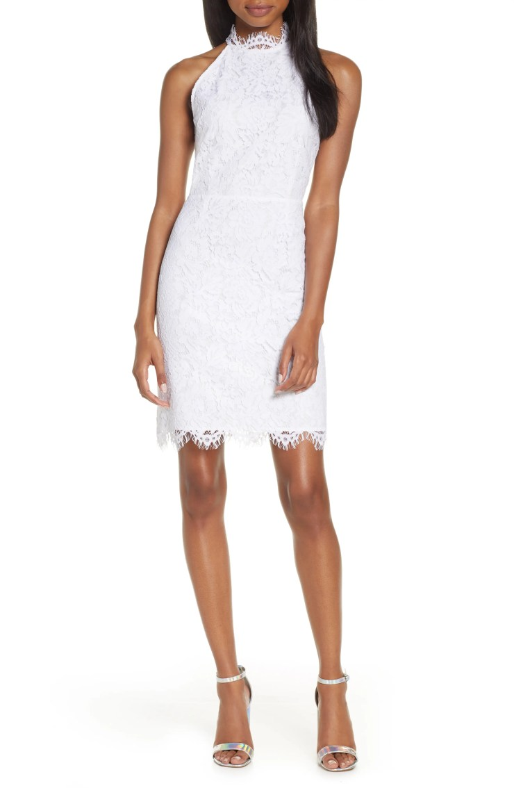 Cara High Neck Lace Cocktail Dress, Main, color, WHITE