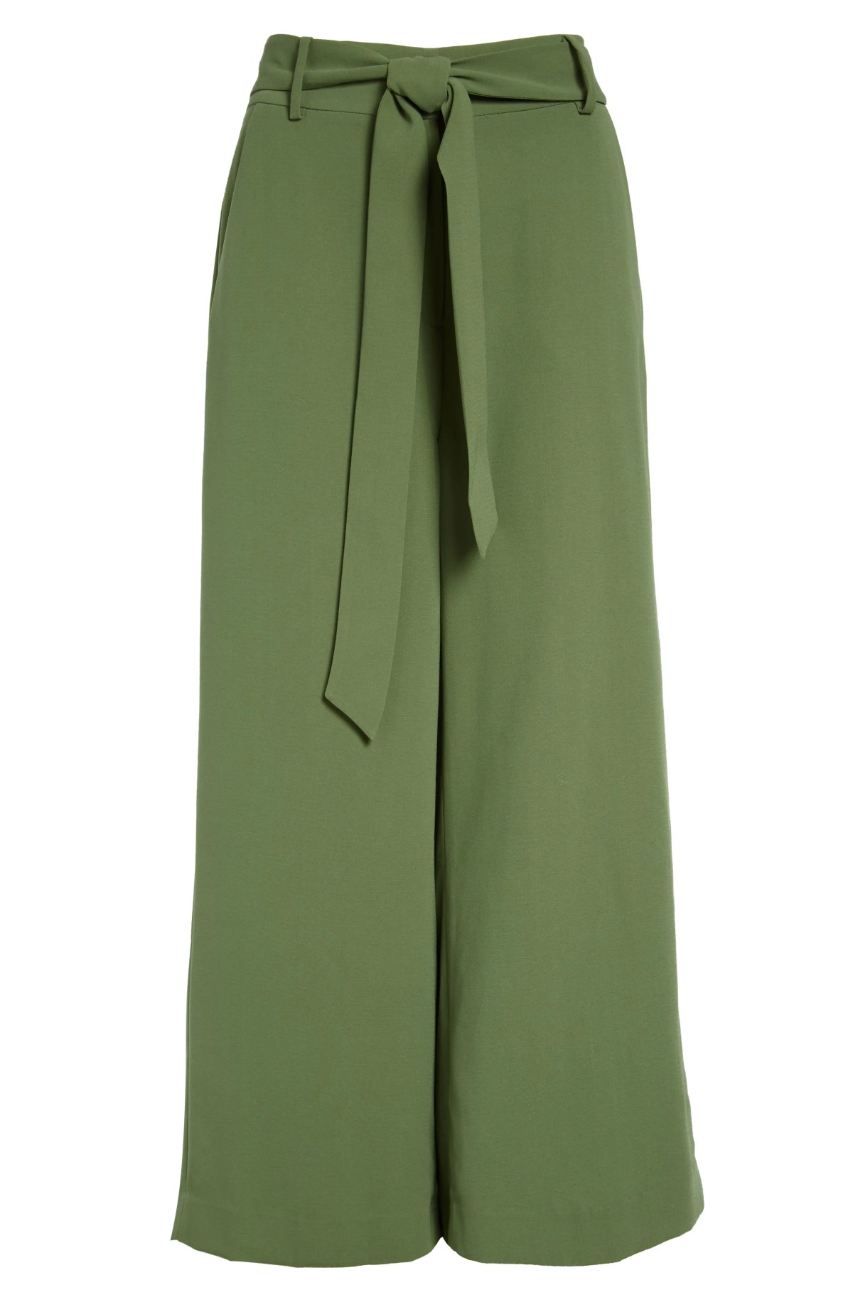 RACHEL PARCELL Tie Front Pants, Main, color, GREEN DILL
