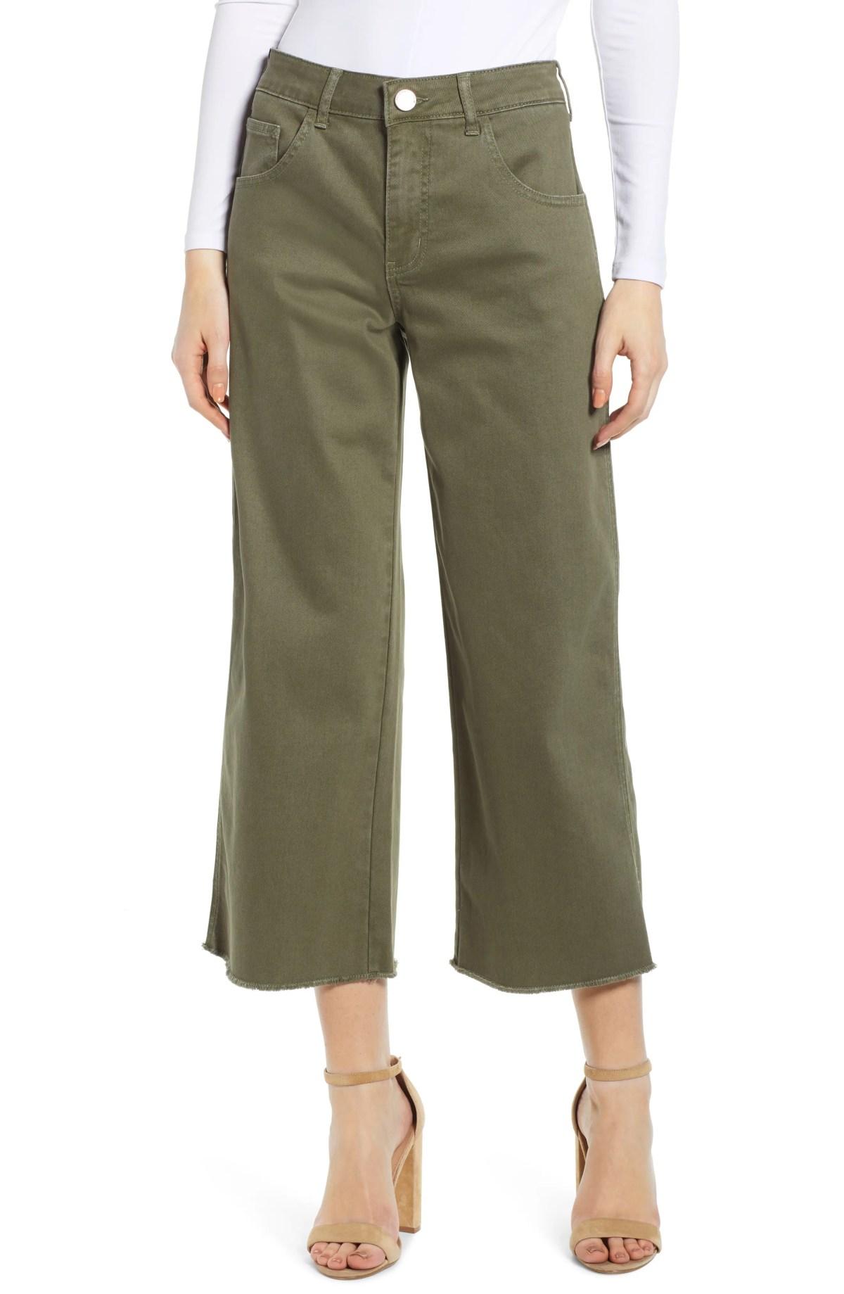 PROSPERITY DENIM Cargo Wide Leg Crop Jeans, Main, color, OLIVE
