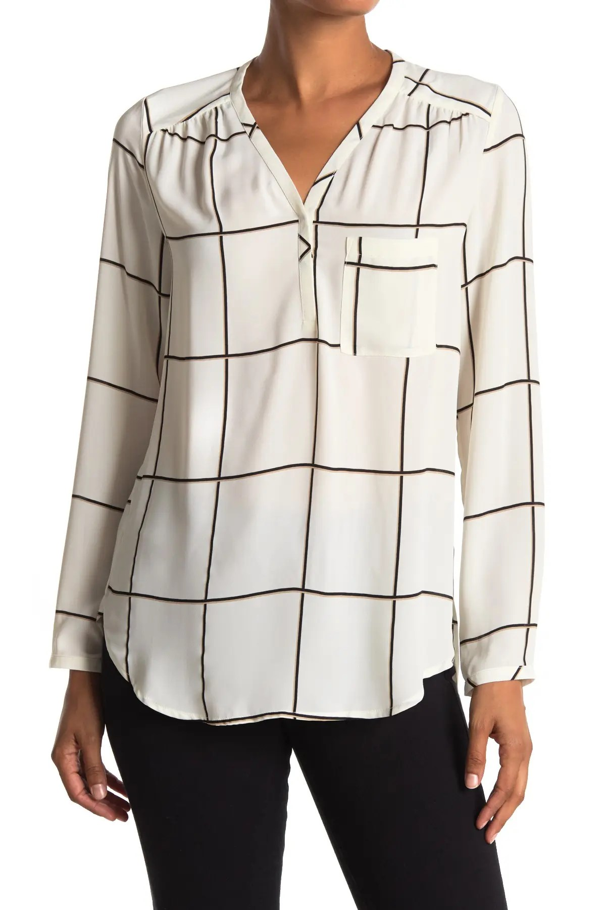 pleione windowpane long sleeve tunic top nordstrom rack