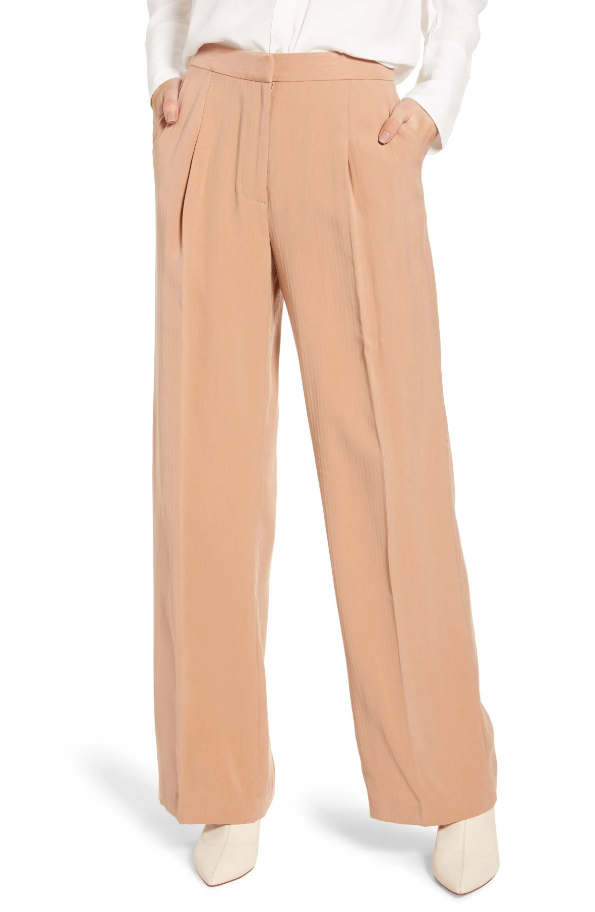 Tonal Stripe Relaxed Slacks, Main, color, TAN TAWNY