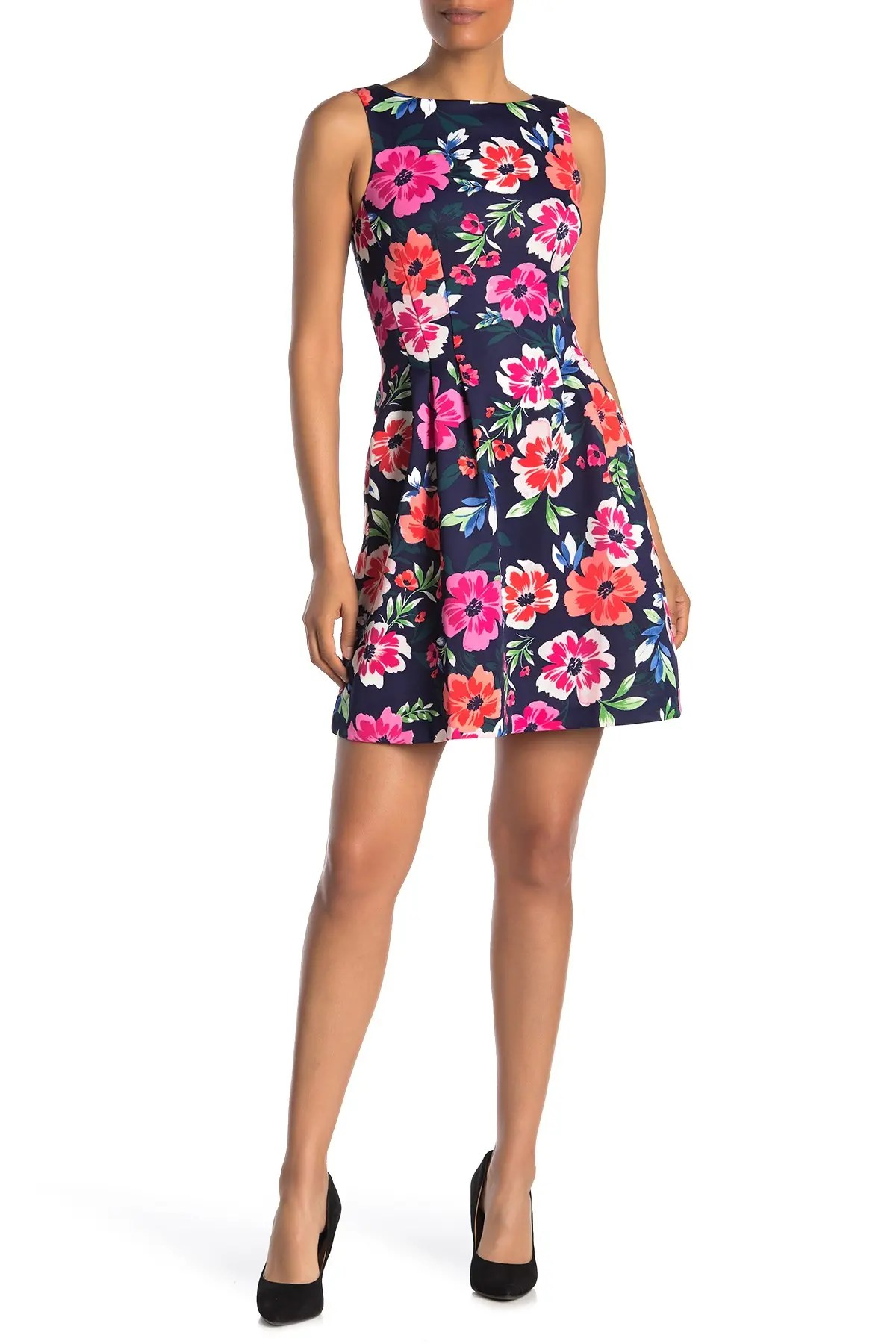 vince camuto floral sleeveless scuba fit flare dress nordstrom rack