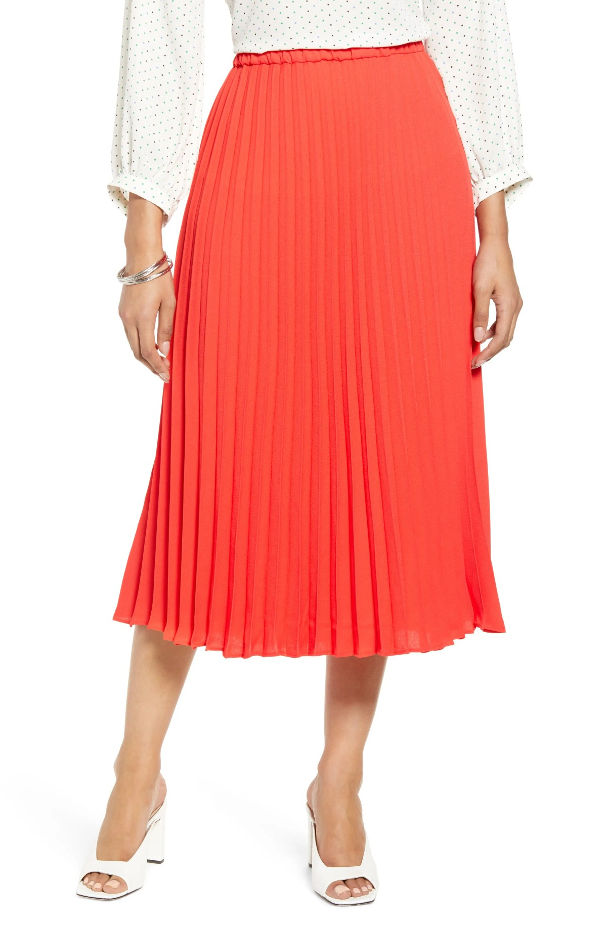 HALOGEN<SUP>®</SUP> Pleated Midi Skirt, Main, color, RED BITTERSWEET