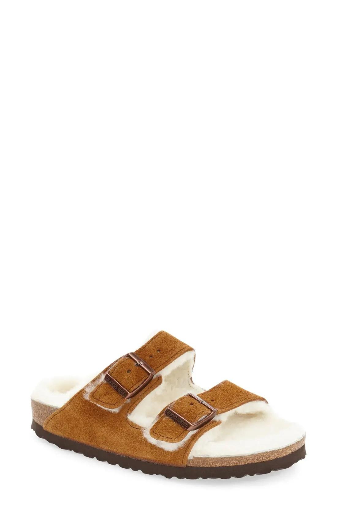 BIRKENSTOCK 'Arizona' Genuine Shearling Lined Sandal, Main, color, MINK SUEDE