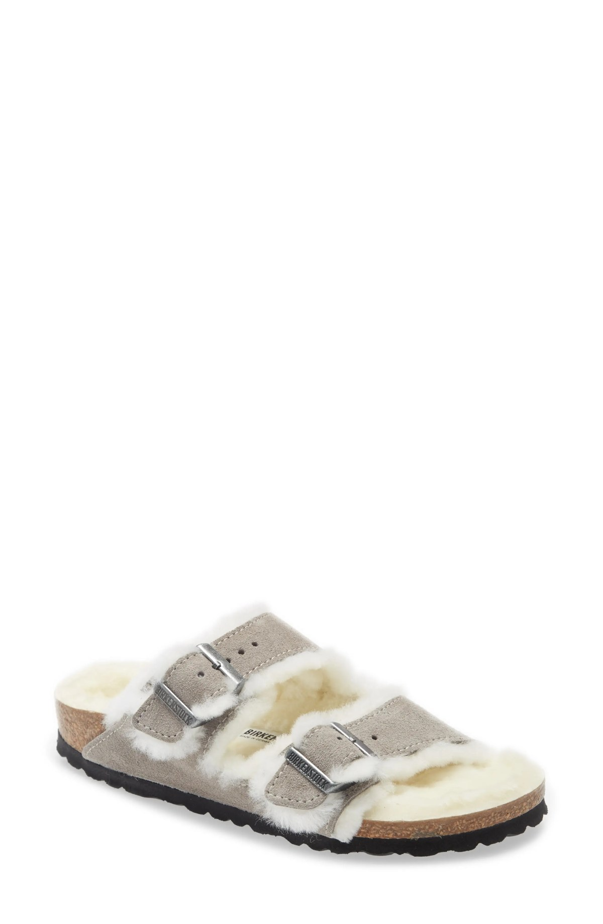 BIRKENSTOCK Arizona Genuine Shearling Slide Sandal, Main, color, STONE COIN SUEDE