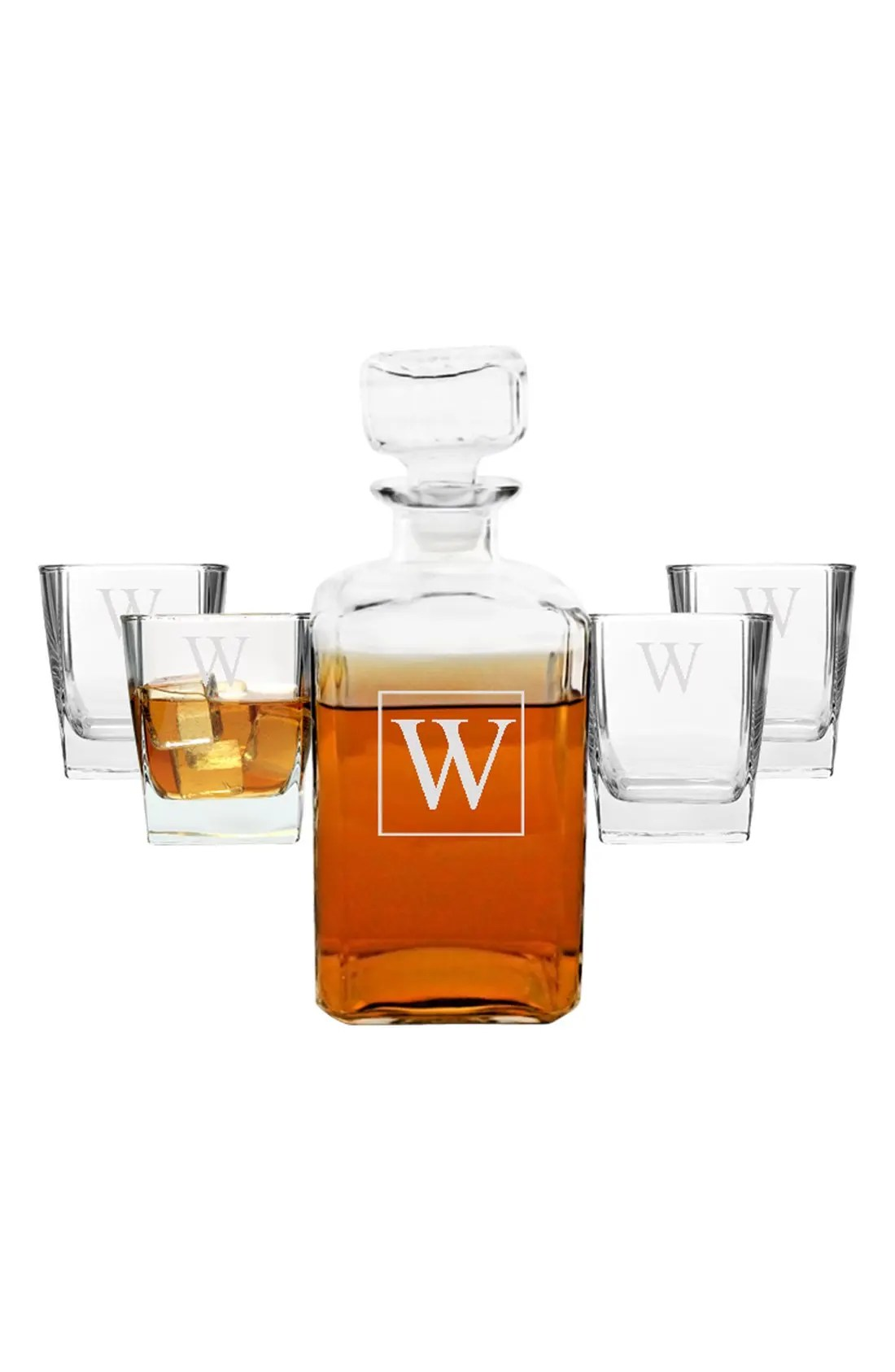 Monogram Five-Piece Decanter Set, Alternate, color, J