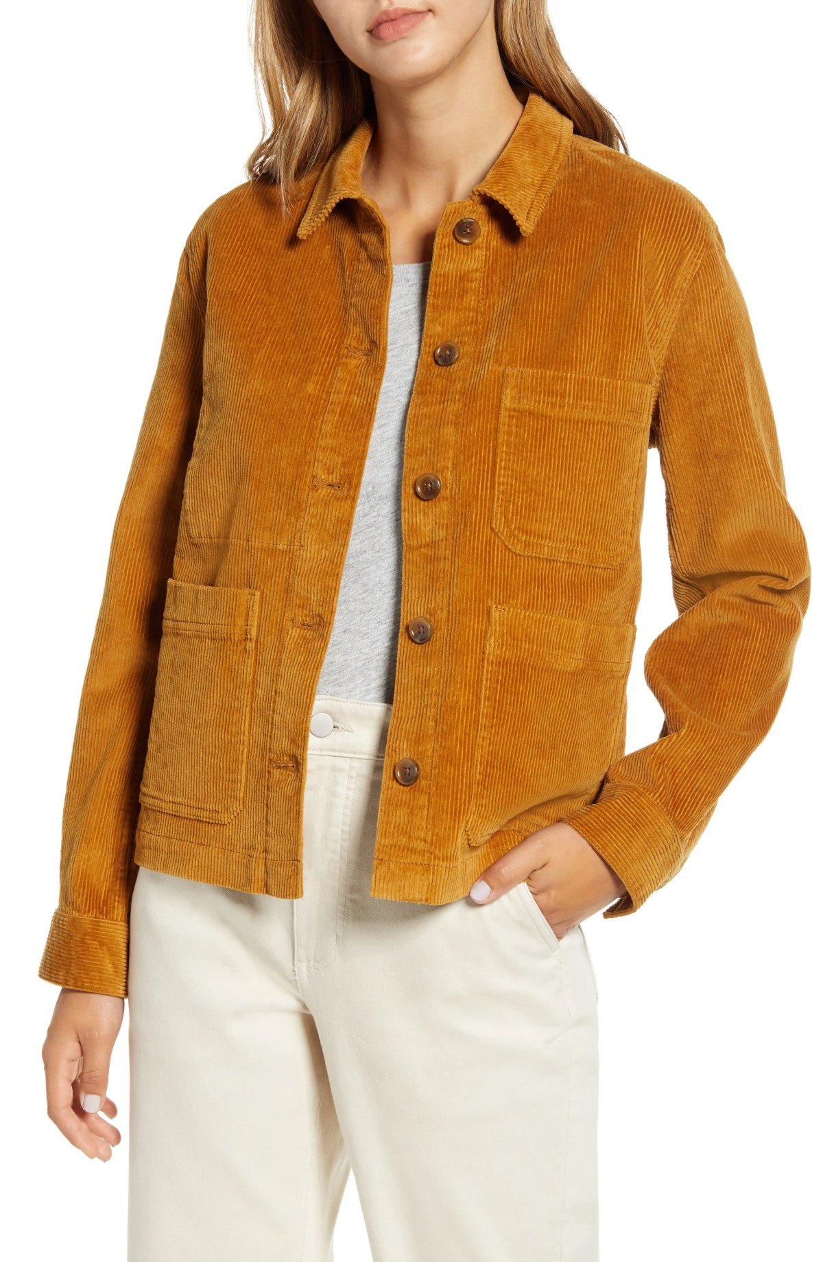 EVERLANE Corduroy Chore Jacket, Alternate, color, GOLDEN BROWN