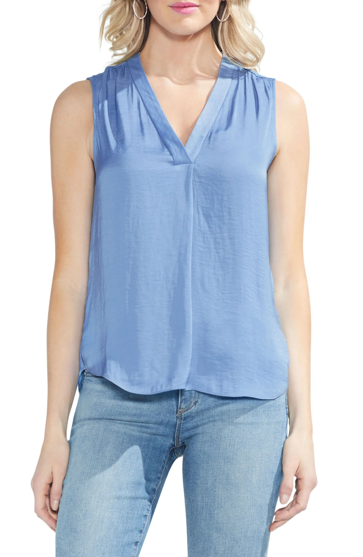 VINCE CAMUTO Rumpled Satin Blouse, Main, color, NEW SAPPHIRE ICE
