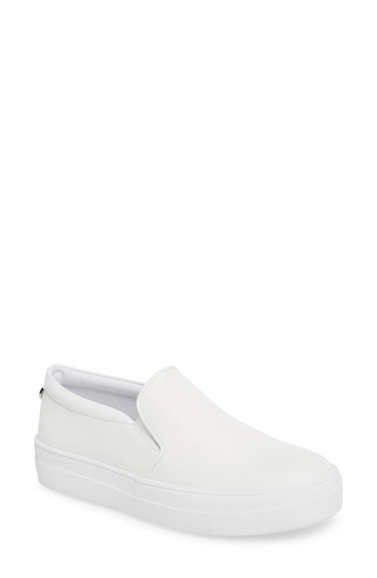 STEVE MADDEN Gills Platform Slip-On Sneaker, Main, color, WHITE LEATHER