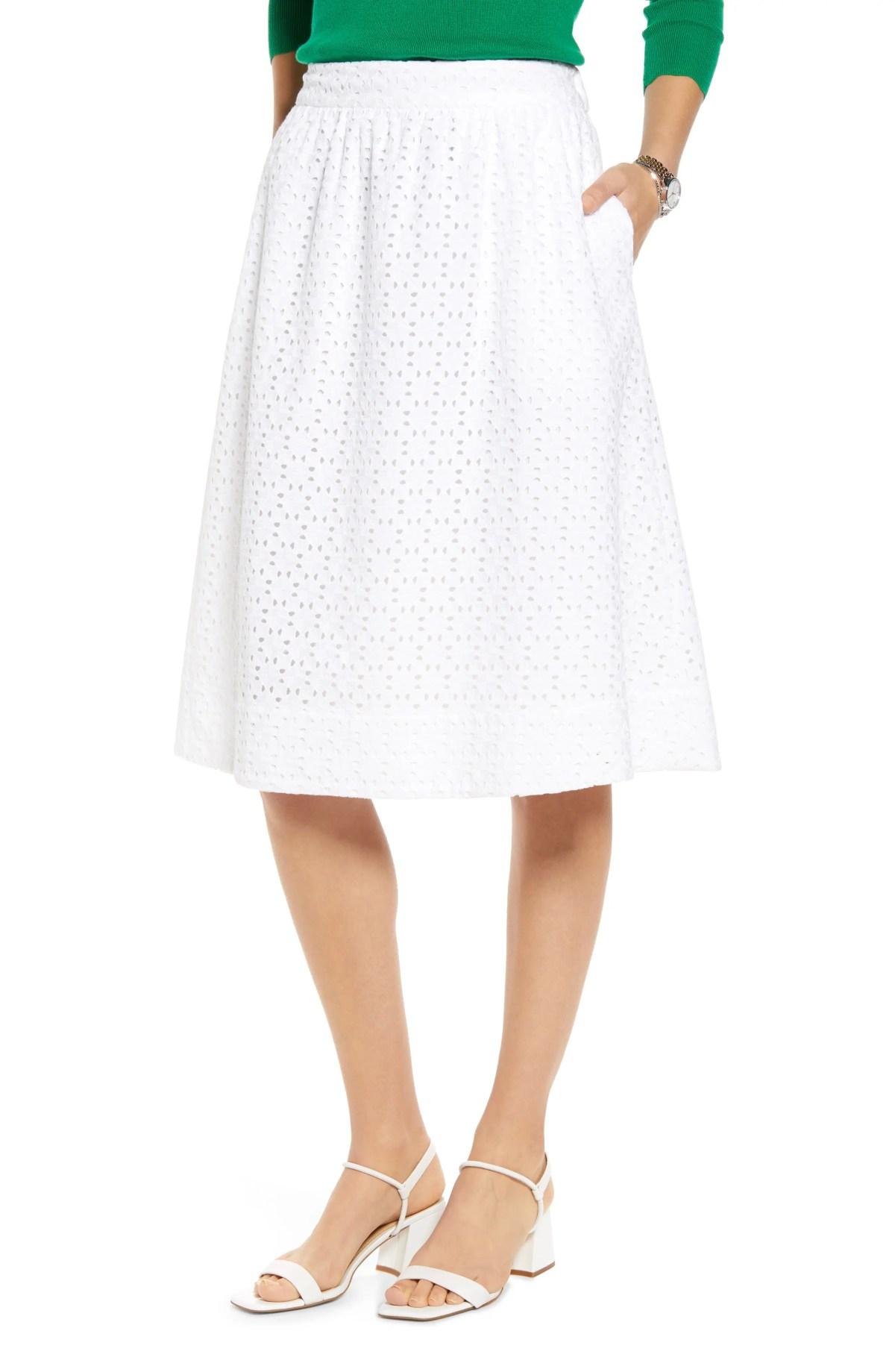 1901 Eyelet A-Line Skirt, Main, color, WHITE