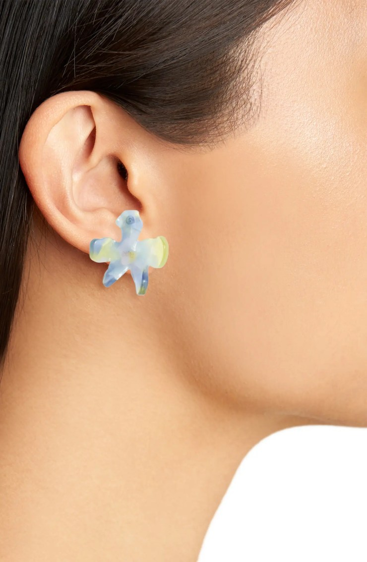 Lily Button Earrings, Alternate, color, CITRON