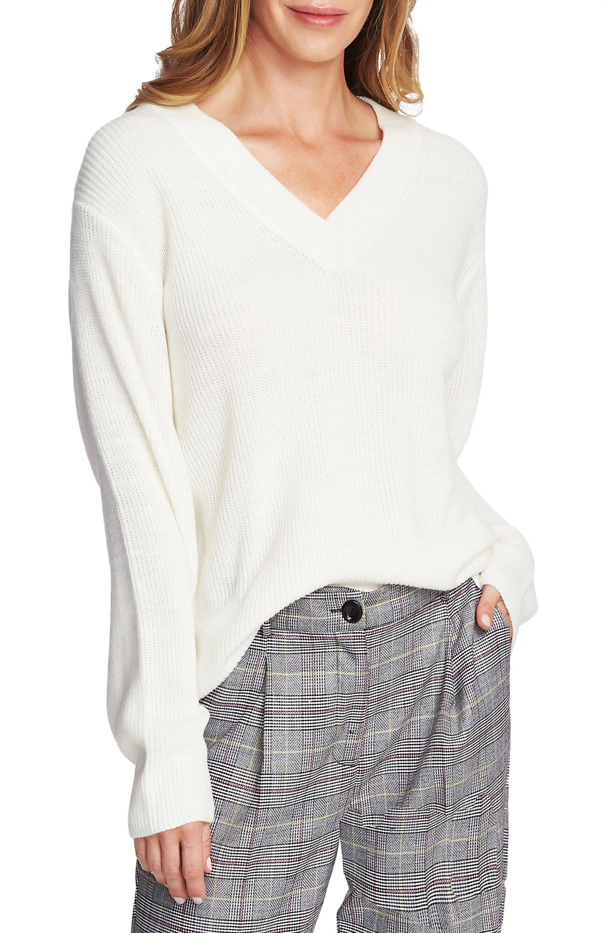 Ribbed V-Neck Sweater, Main, color, ANTIQUE WHITE