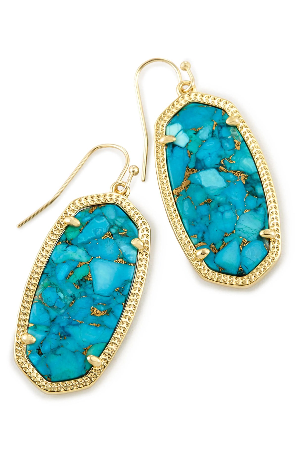 Elle Filigree Drop Earrings, Main, color, BRONZE VEINED TURQUOISE/ GOLD