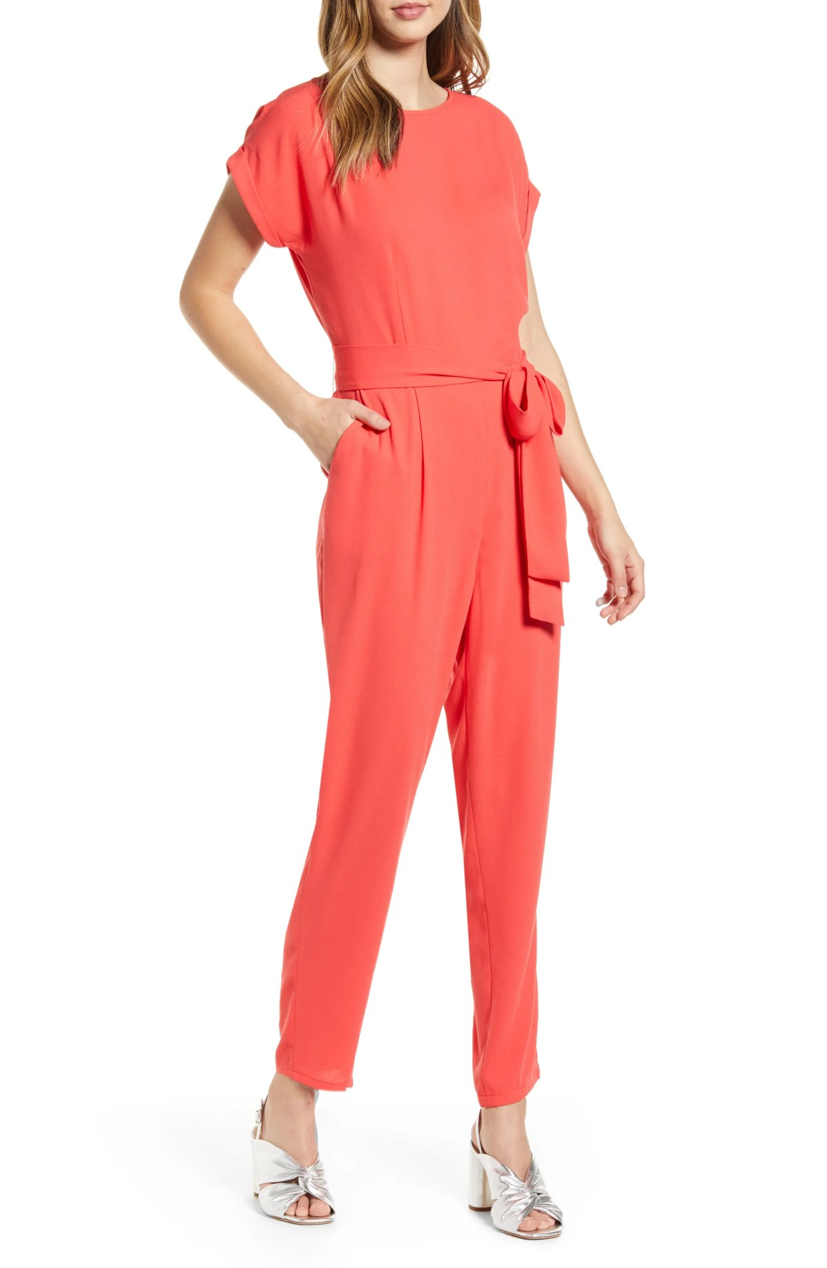 HALOGEN<SUP>®</SUP> Short Sleeve Jumpsuit, Main, color, RED BITTERSWEET