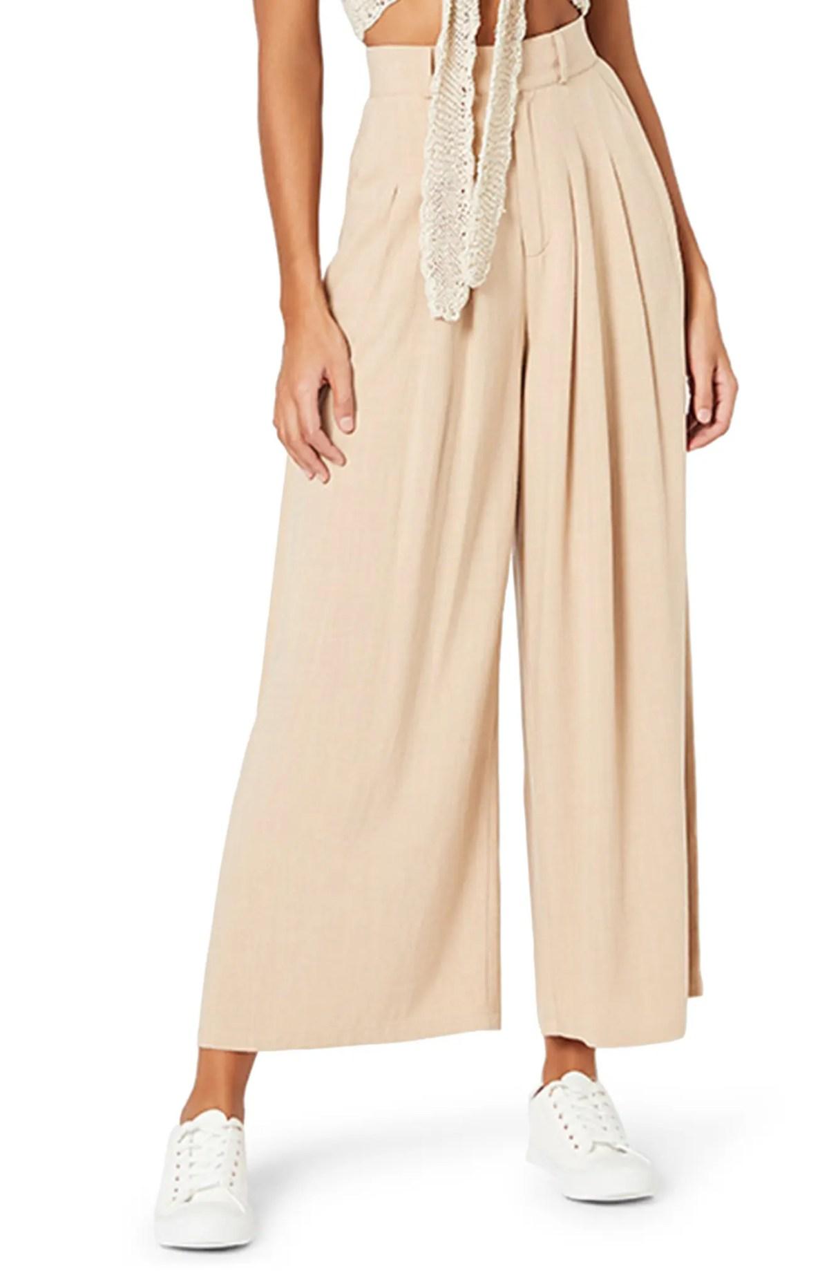 MINKPINK Taylah Wide Leg Pants, Main, color, NATURAL