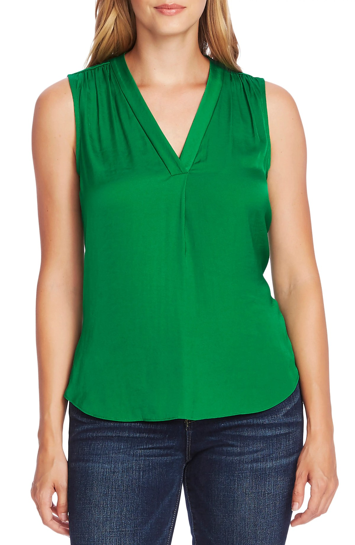 VINCE CAMUTO Rumpled Satin Blouse, Main, color, EVERGLADE