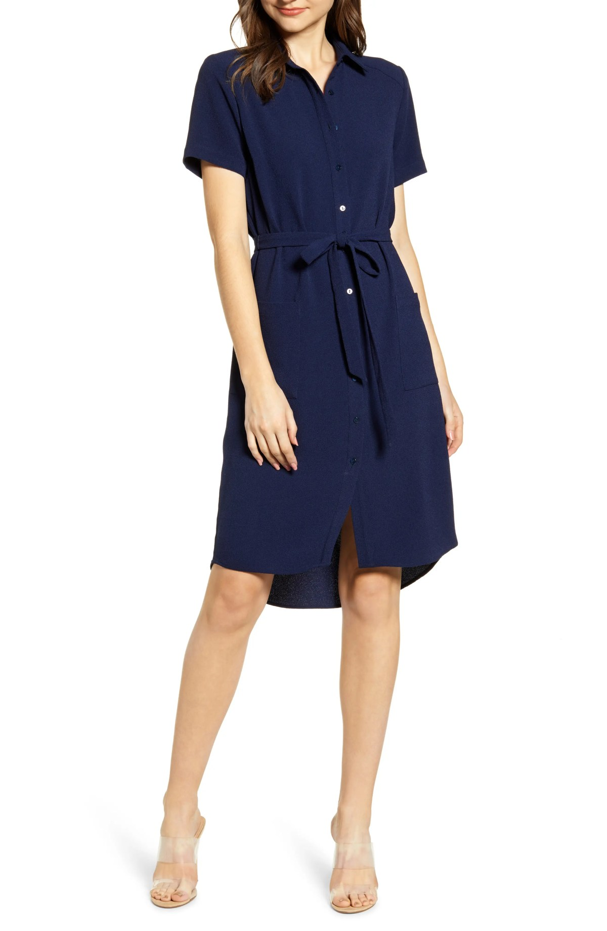 Everyday High/Low Shirt Dress, Main, color, NAVY PEACOAT