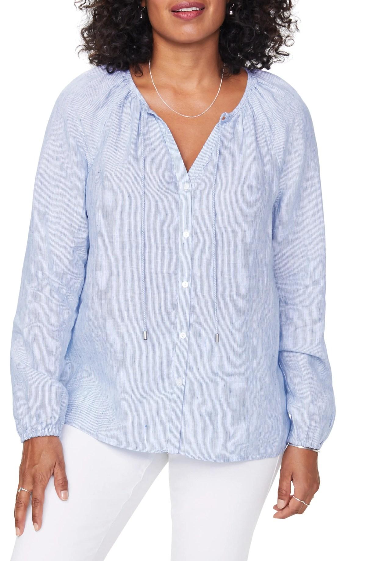 NYDJ Linen Peasant Blouse, Main, color, SEA STRIPE