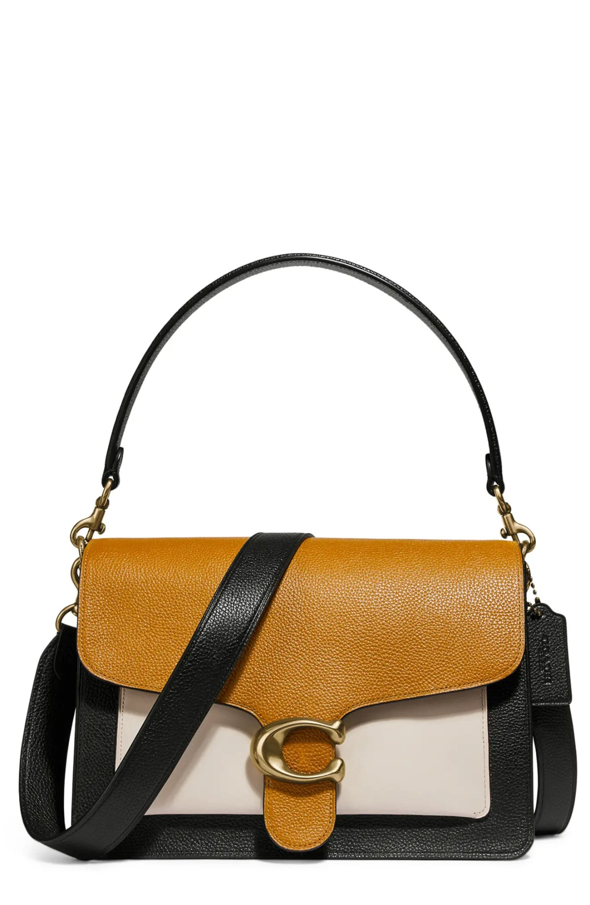 COACH Tabby Colorblock Leather Shoulder Bag, Main, color, B4/ STRAW MULTI