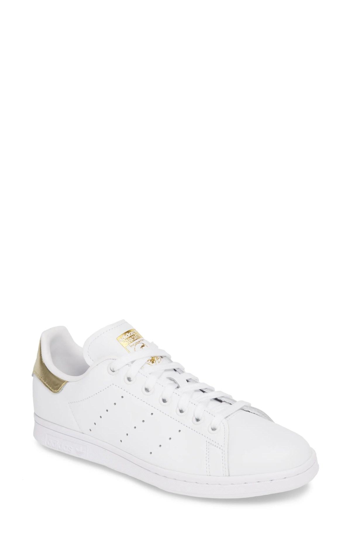 ADIDAS Stan Smith Sneaker, Main, color, WHITE/ WHITE/ GOLD
