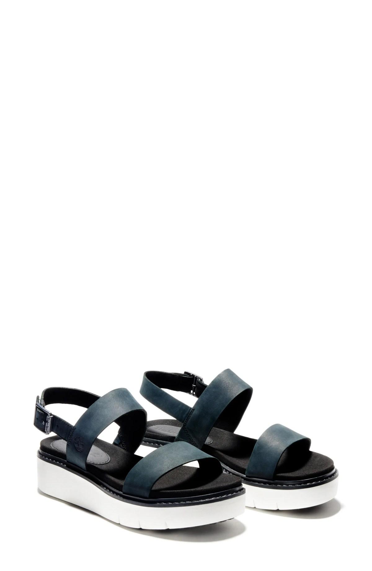TIMBERLAND Safari Dawn Platform Sandal, Main, color, BLACK NUBUCK LEATHER