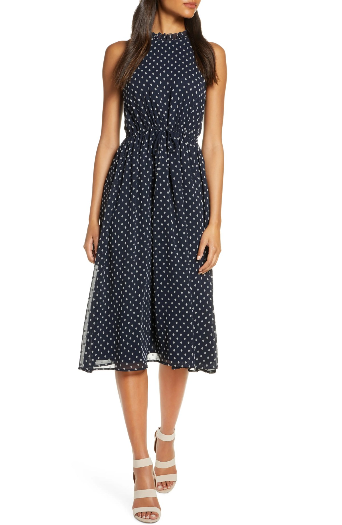 Sleeveless Polka Dot Tie Waist Midi Dress, Main, color, NAVY/ CREAM