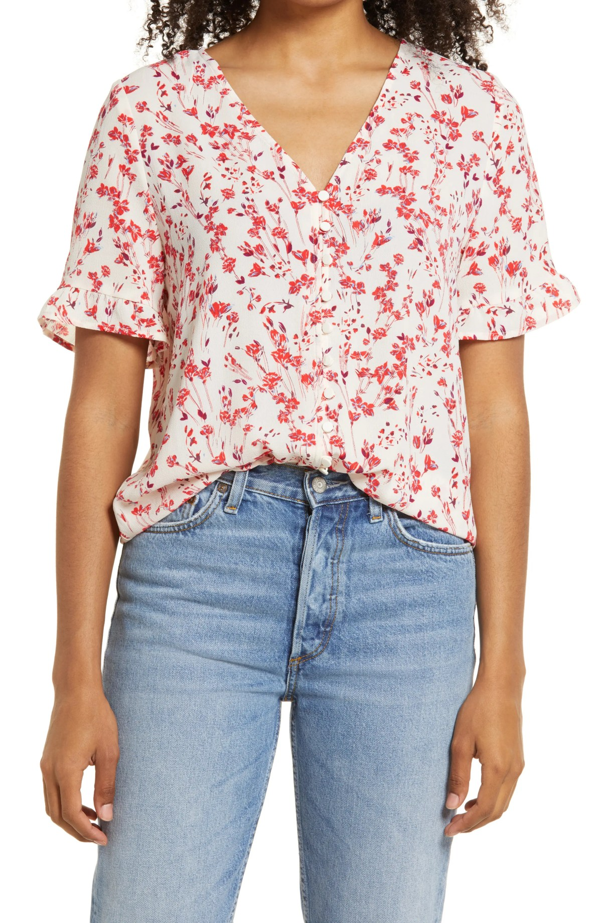 CECE Floral Ruffle Trim Blouse, Main, color, STORY