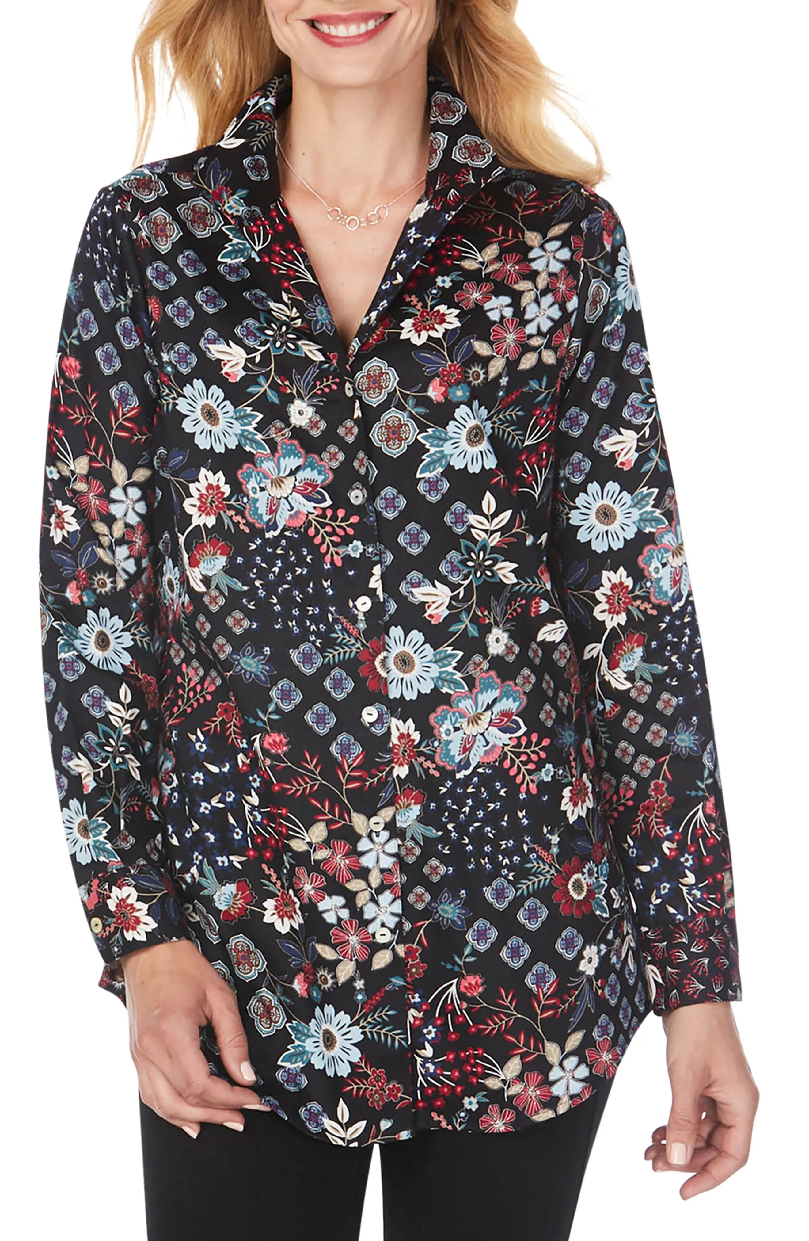 foxcroft lucca floral medallion print tunic nordstrom rack