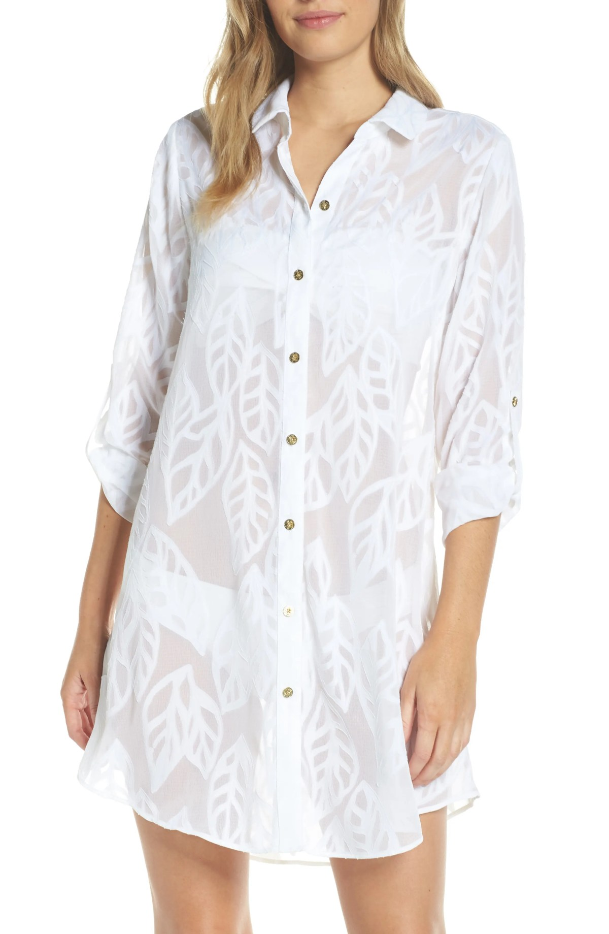 Natalie Shirtdress Cover-Up, Main, color, RESORT WHITE VERTICAL LEAF