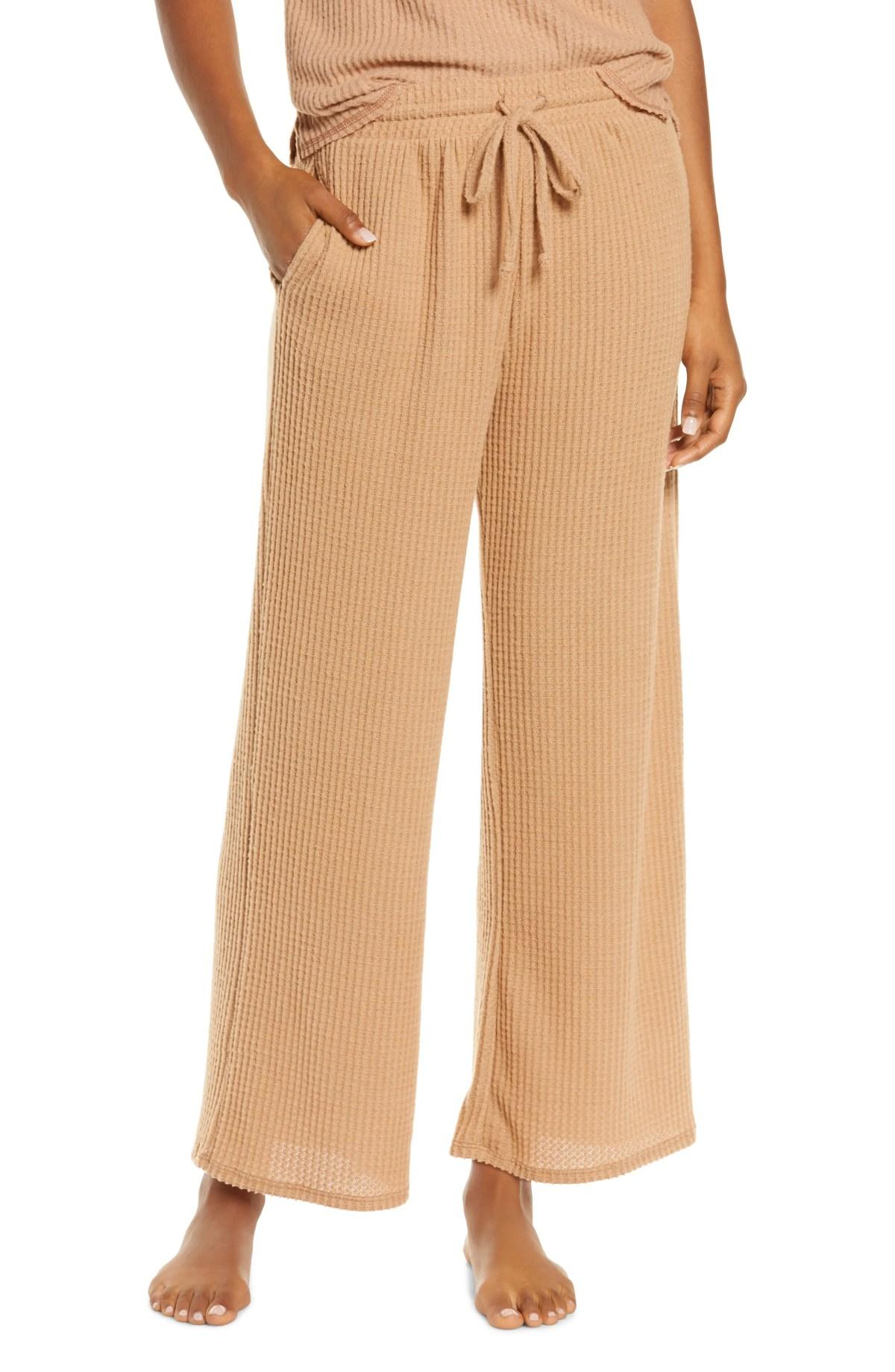 SOCIALITE Waffle Knit Wide Leg Pants, Main, color, CAMEL
