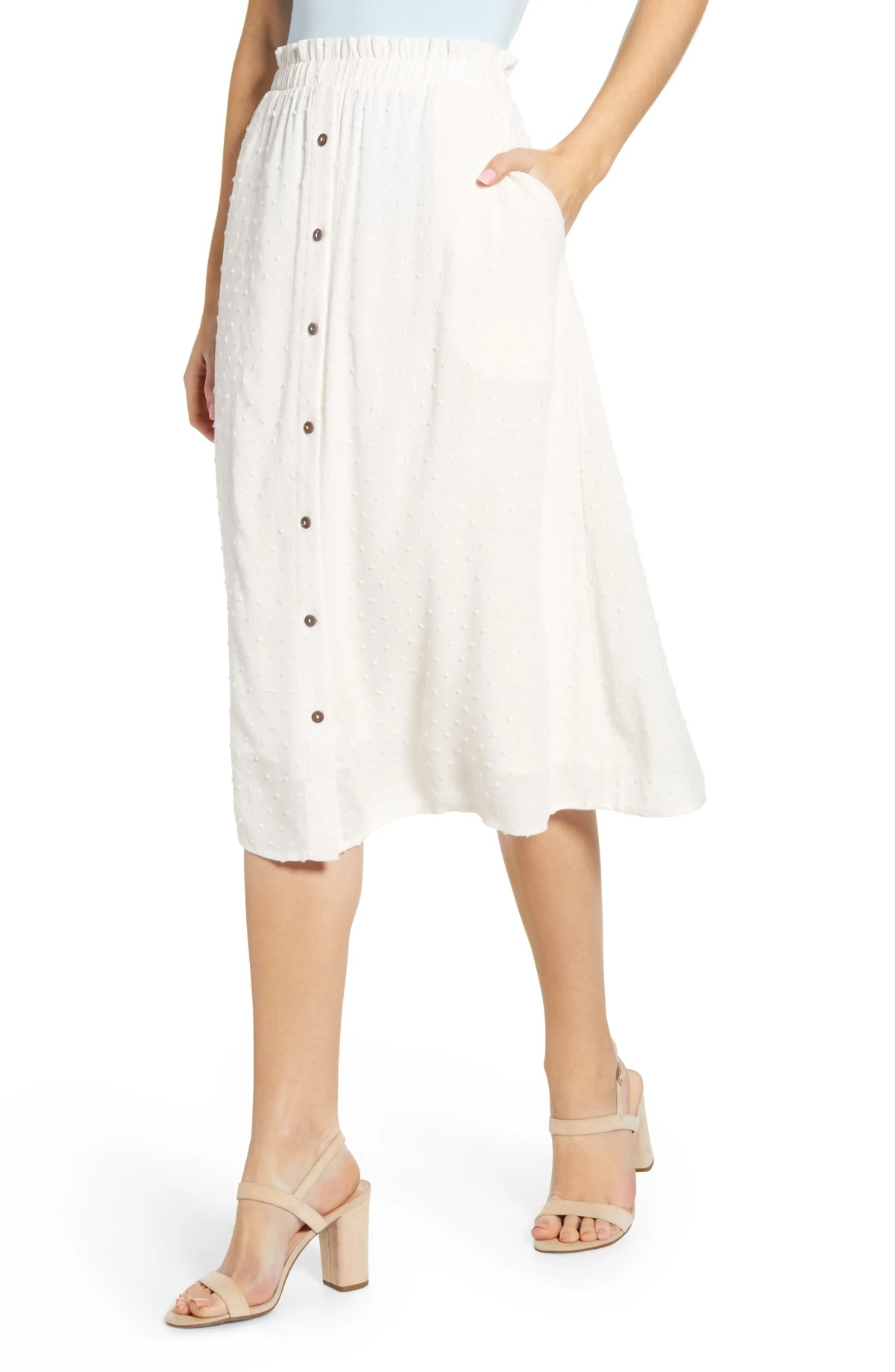 GIBSON x The Motherchic Siesta Button-Down Midi Skirt, Main, color, IVORY CLOUD SWISS DOT
