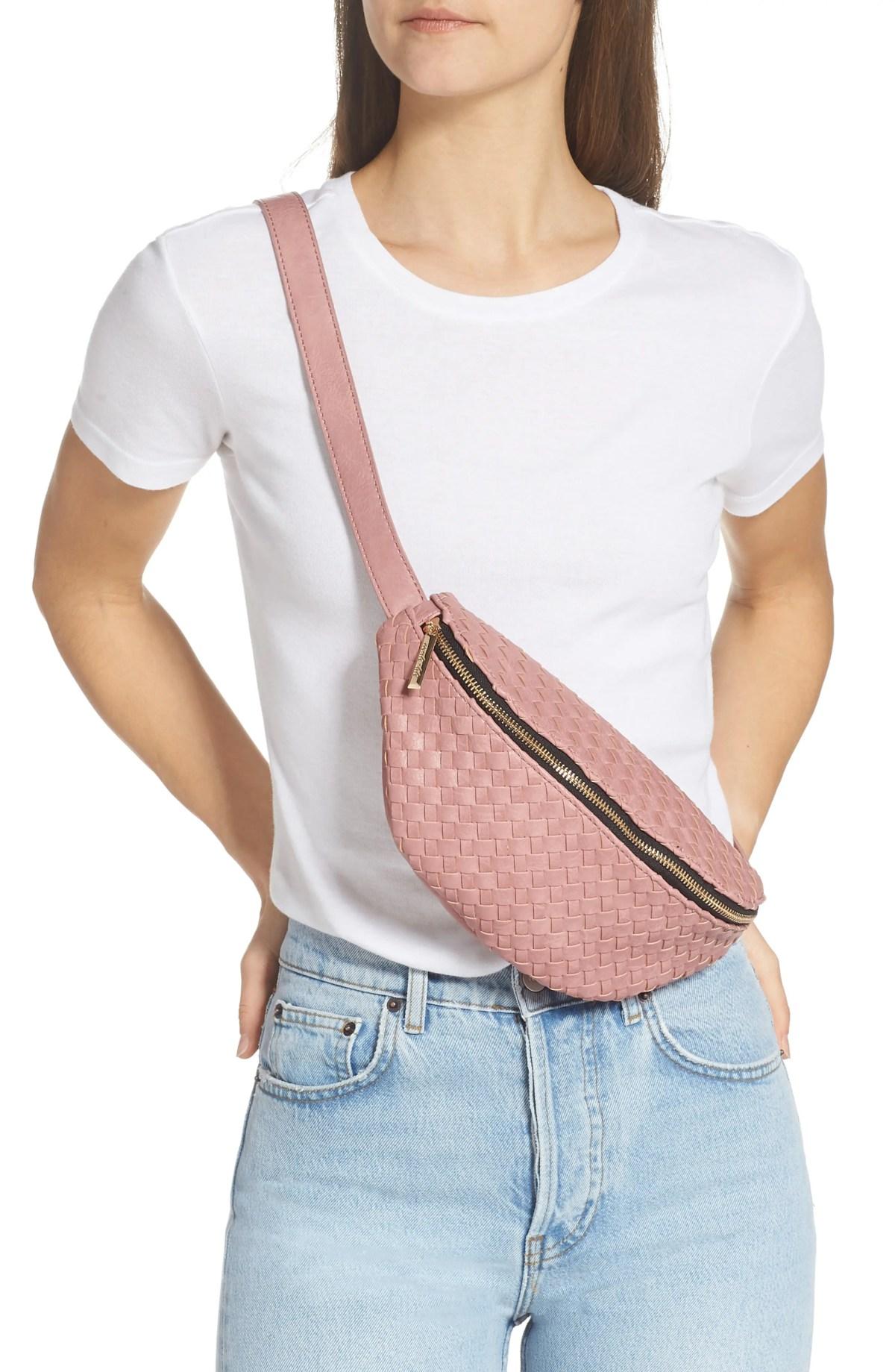 MALI + LILI Beta Woven Vegan Leather Belt Bag, Alternate, color, MAUVE