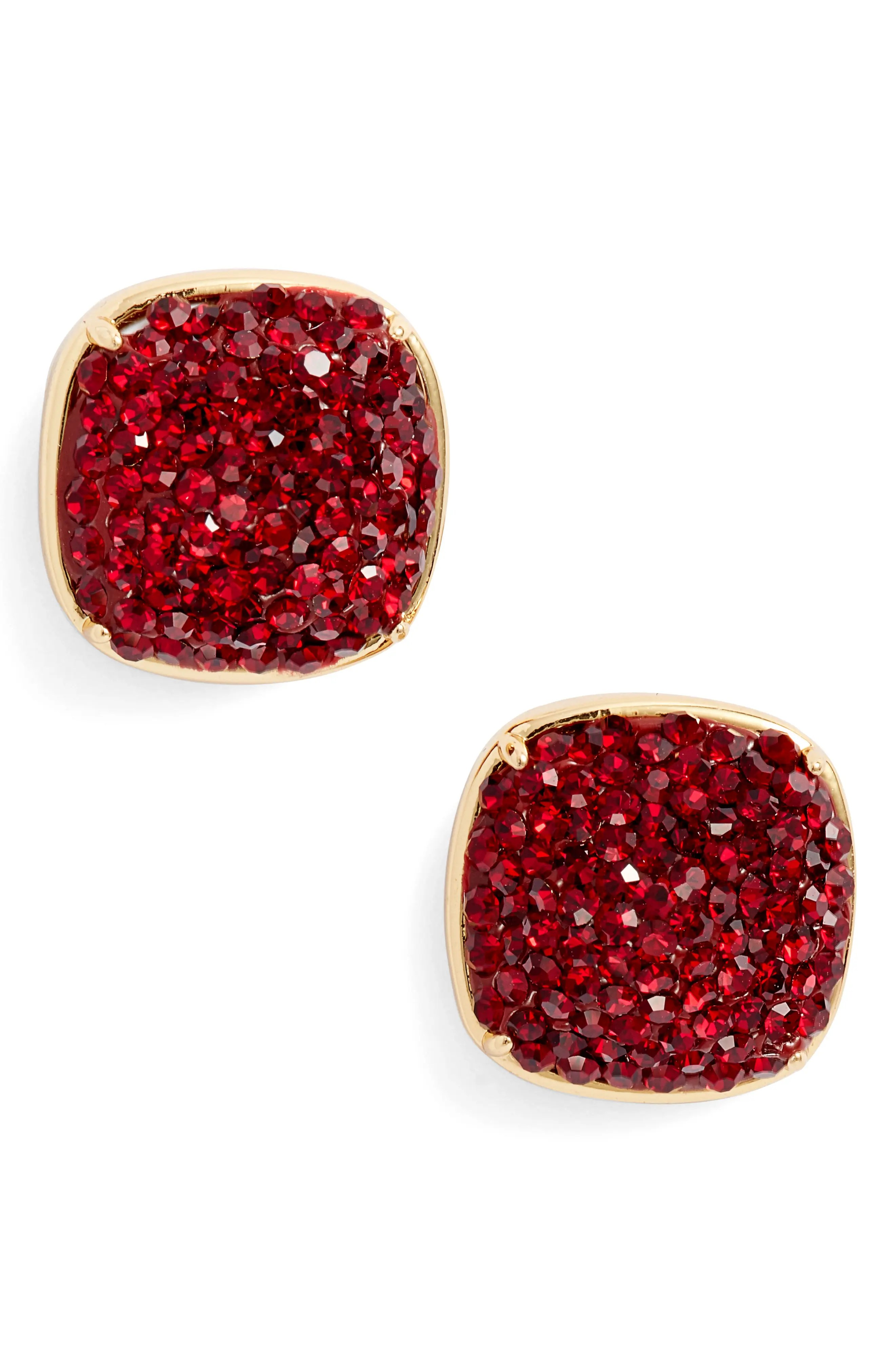 pave small square stud earrings