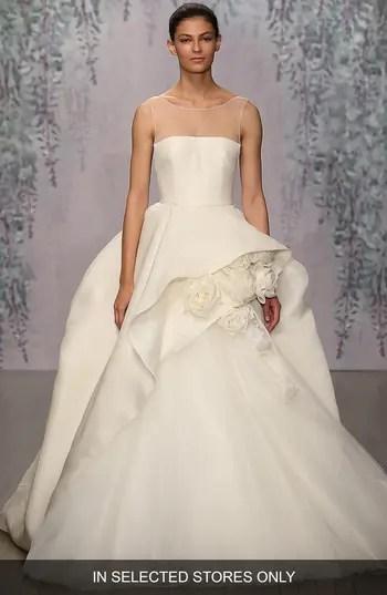 Womens Monique Lhuillier Rosette Detail Silk Ballgown Dress NORDSTROM 7200