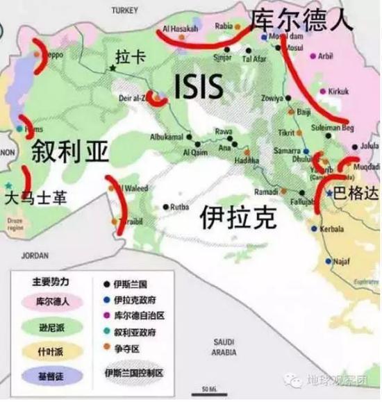 (图:ISIS实际控制区与逊尼派的势力范围高度重合,其兴起的基础即在于利用伊拉克和叙利亚两国的逊尼派与政府的矛盾,获得大量逊尼派支持。)