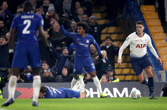 Chelsea 2-1 Tottenham,Chelsea will face Manchester City in the final10