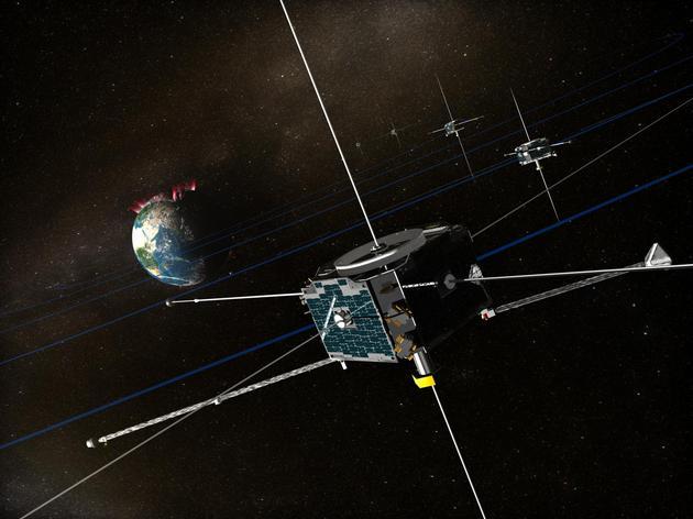 示意图:正在地球附近空间工作的THEMIS卫星星座。整个THEMIS星座一共有5颗卫星围绕地球飞行,目的是观察地球磁场如何捕获及释放太阳风粒子能量,从而理解导致极光出现的地磁亚暴现象是如何发生的
