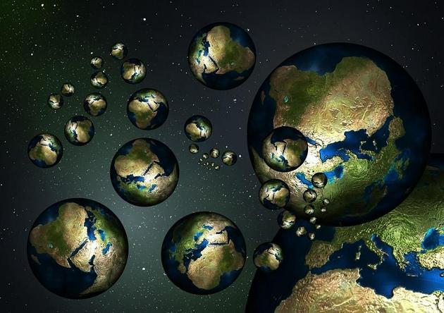 多重宇宙中存在多個平行宇宙的示意圖。