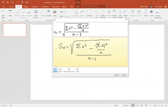 微軟推送Office預覽版更新:支持手寫數學公式