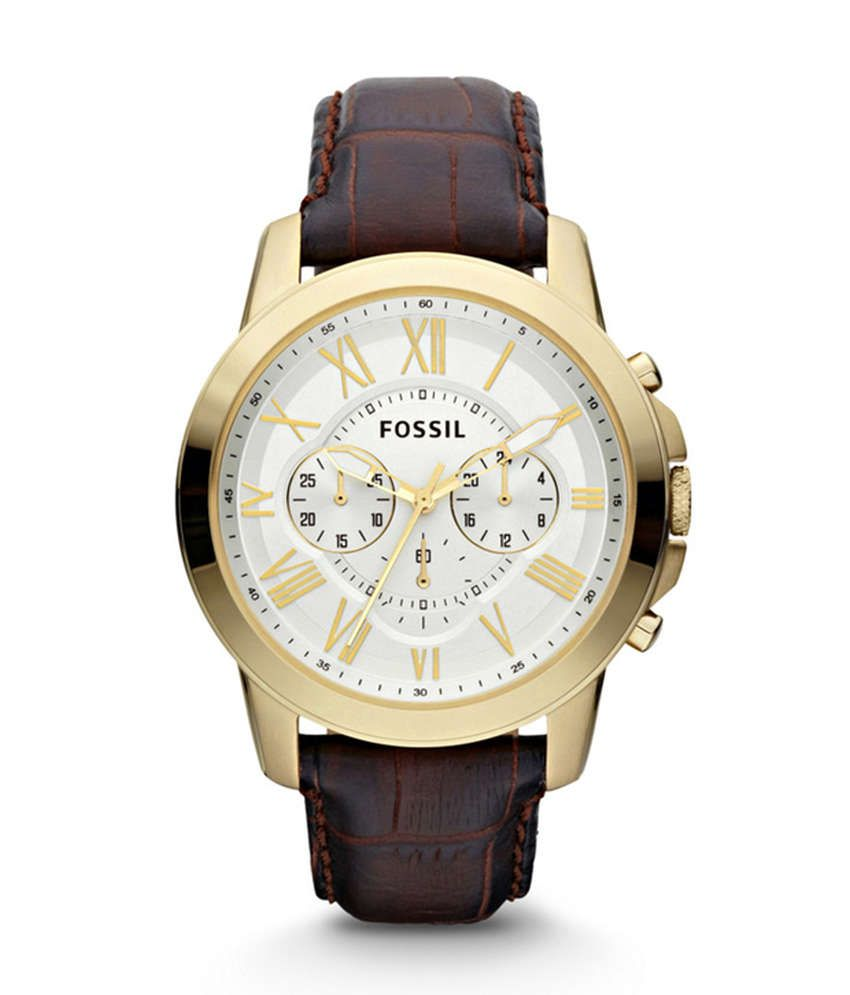 Fossil White Dial Leather Strap Casual Watch Buy Fossil