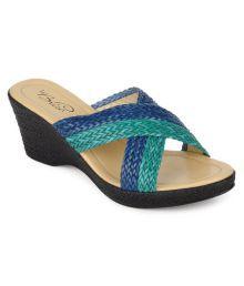 La Briza Blue & Green Slip-on Heels