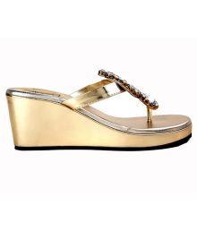 Tease Studded Golden Slip-on Heels